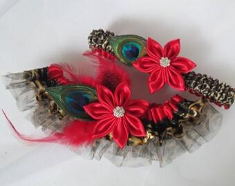 Red & Leopard Wedding Garter Set, Peacock Bridal Garters, Red Prom Garter, Christmas- December- Winter Wedding, Valentines Day Garter