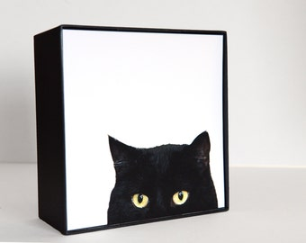 cat photography,photo block,5x5,framed,art for your wall or table top, black and white,black cat,minimalist,