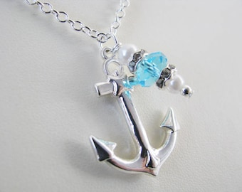Great Bridesmaids gifts Turquoise Bead Anchor Necklace Beach Themed Wedding Party Jewelry