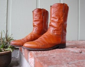 Vtg Mens 9 Justin Roper Boots Rust Brown Leather Calf High Pull On Tall Motorcycle Boot Riding Boots Biker Rugged Boot Southwestern Moto