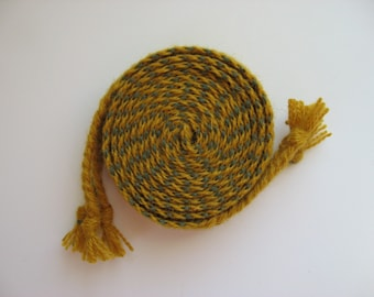 hand-woven wool inkle belt with braided tassels