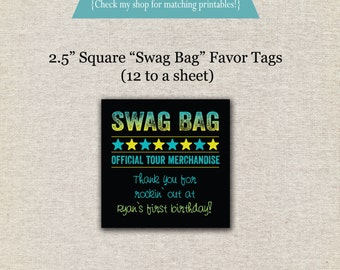 Rock Star Favor Tags - blue green | Rock Star Thank You Tags | Rock Star Swag Bag Gift Tags | Rock Star Party Printables