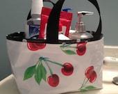Fabric Bin, Storage Bin/Storage Basket/Shower Caddy/ Bathroom Organizer/Organization/ Desk Organizer in Red Cherries w/ White Dots on Black