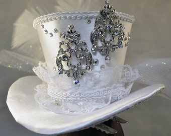 White Satin Mini-Hat - Crystal Wedding