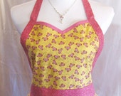 Spring Apron Womens Sweetheart Feminine Easter Yellow Butterfly Pink Glitter Gold Swirl Floral Fit Flare Flirt Cotton Full Size