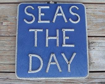SEAS THE DAY Sign Navy 12 x 13 Great for Nautical Sailor Coastal Beach Decor Grey Rope