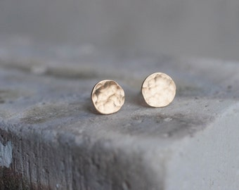 Textured Disc Solid 14k Recycled Gold Earrings