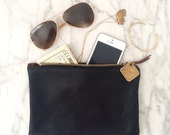 Small Leather Clutch - Black, Cognac Brown, Navy, Merlot or Forest Green