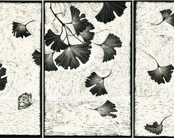 Art Print Gingko Tryptych from Scraperboard Original