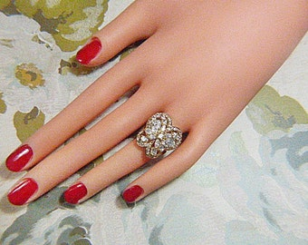 GORGEOUS Vintage Rhinestone Butterfly Cluster Ring - Size 4.75 - BUT-70 - Rhinestone Butterfly Cluster Ring - Rhinestone Butterfly