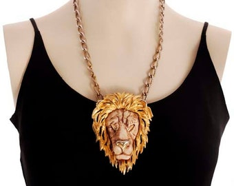"Vintage Bling Razza Necklace Huge Lion Head Fob  4"" Tall Unique"