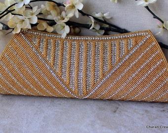 HALF PRICE SALE Elegant Bridal Clutch with Gold Seed Beads & Rhinestones