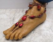 Sale VAMPIRE BRIDE. Pair of blood red barefoot sandals made with brown hemp.  Beach and bellydance fashion! Basic style. HFT-523