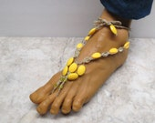 Bright yellow barefoot sandals made with natural hemp.  Adult size HFT-764