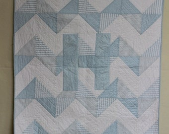 Chevron Baby Quilt With Appliqued Initial
