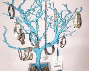 "19"" Aqua Blue Jewelry Tree Accessory holder / Jewelry Organizer"