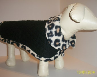 Black cotton quilted small dog coat with leopard fleece collar and trim