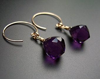 Amethyst drops with gold earrings, dangle earrings, amethyst, gold hoop, artisan earrings  - Amethyst chandeliers