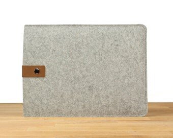 "11"" MacBook Air Sleeve Case - Gray Wool Felt with Brown Leather Strap"