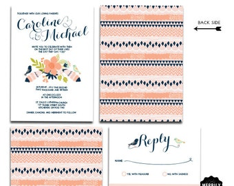 Pink, Peach, Mint and Navy Wedding Invitation Set with Whimsical Feathers and Love Birds | Personalized Wedding Set, Fully Customized