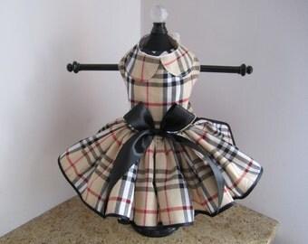 Dog Dress Fasion Plaid