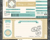 Plane Ticket Wedding Invitations - Boarding Pass - Gold and Blue Travel Invitation Suite with RSVP Postcards - SAMPLE