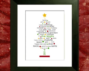 Personalized Christmas Tree, Family Christmas Gift, Custom Art Print, Gift for Mom, Gift for Grandma, Cyber Monday Sale