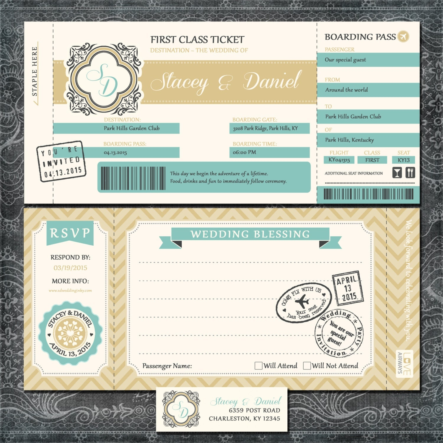 Boarding Pass Wedding Invitations Gold And Blue Travel