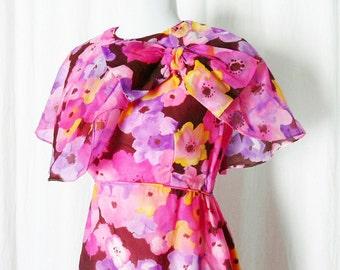 Vintage 60s Bright Pink Sheer Watercolor Floral Silk Ruffled Shawl Maxi Dress S
