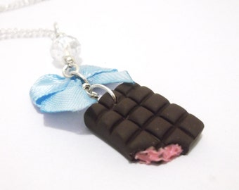 Chocolate Necklace Food Miniature ( food necklace polymer clay food jewelry gift for girl cute necklace silver necklace strawberry necklace)