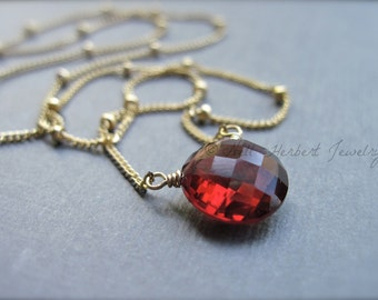 Garnet Gemstone Necklace, Garnet Solitaire Necklace on 14K Gold Filled Satellite Chain, January Birthstone Jewelry