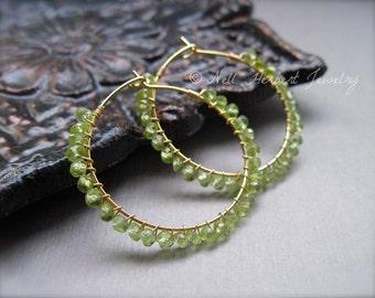 Peridot Gold Hoop Earrings, Green Gemstone Wire Wrapped Hoop Earrings, Gold Earrings, August Birthstone Earrings