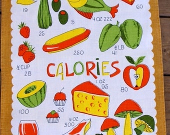 1960s vintage Linen Calories tea towel