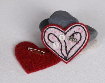 Hand Embroidered Fabric felted heart with HOPE charm pin/brooch