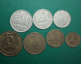 Back in the USSR - Set of 7 Soviet Russian metal coins, copeck, kopeks, kopecks, kopeyka