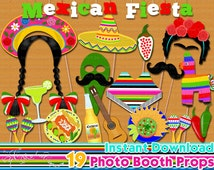 Mexican Fiesta photo booth props, Mexican fiesta birthday party, 5 de mayo, party decor, Photo Booth props set, Printable - INSTANT DOWNLOAD