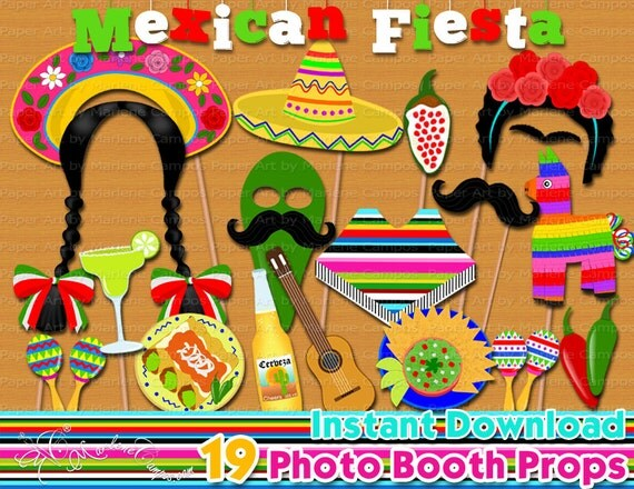 Mexican fiesta photo booth props mexican fiesta birthday for 5 de mayo party decoration