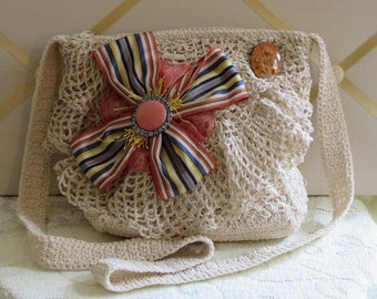 Crochet  PURSE - EMBELLISHED Over the Shoulder - Ivory - Country Chic BAG