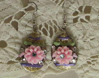 Decorated EASTER EGG EARRINGS - Brightly Painted Silver Eggs, with Flowers, Rhinestones and Golden Glitter