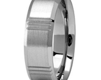 Palladium 500 personalized Wedding Band, Your  Fingerprint engraved Band  7mm  PDS088