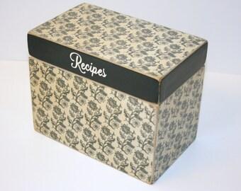 Black Floral Recipe Box, Black and Tan Recipe Box, 4x6 Wood Recipe Box, Handmade Wooden Box, Wedding Guest Book Box, Recipe Organizer