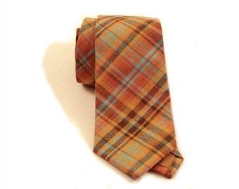 Plaid linen neck tie