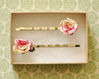 Gracie Pink Paper Rose Hair Pins