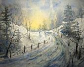 Fine Art Print of original watercolor landscape painting, 11x14 art print, snow painting, winter landscape, watercolor art, snowfall.