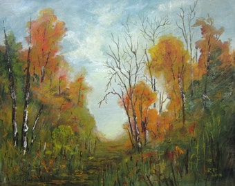 Fall landscape painting print, autumn landscape, fall painting, autumn forest, fall art scenic painting, archival print.