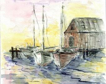 Salt Air, watercolor print, watercolor art, watercolor landscape, seascape painting, nautical print, home decor wall artwork.