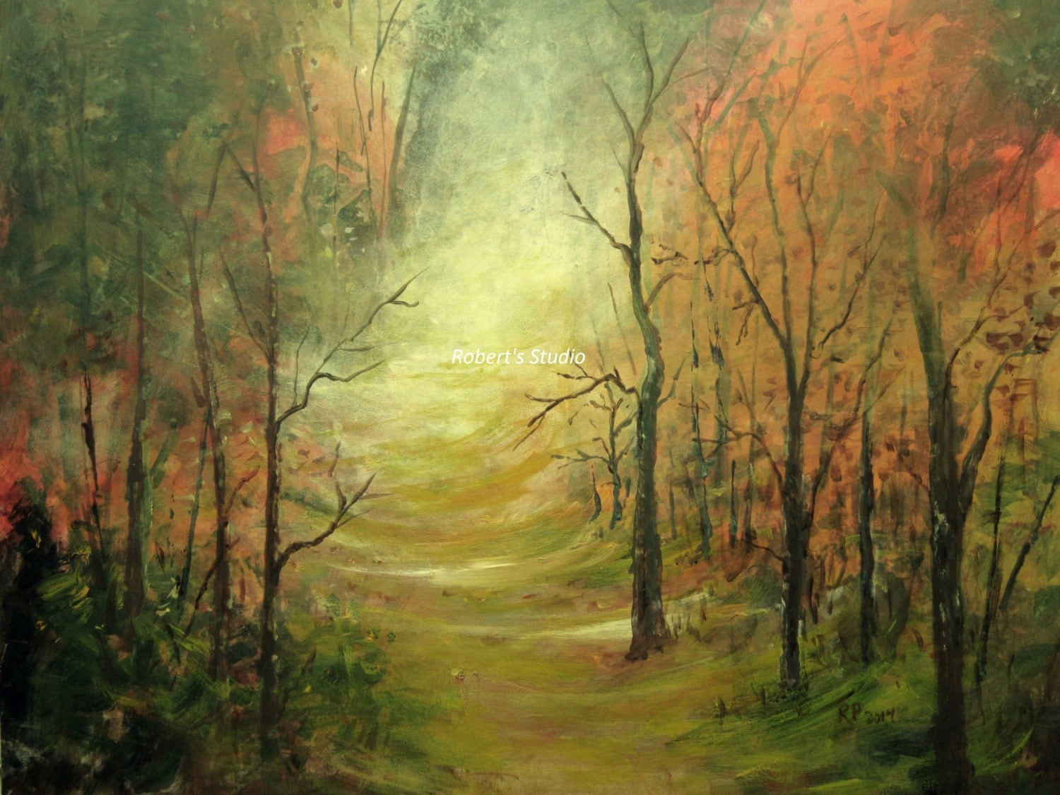 Autumn trail print of original painting landscape painting for Painting a forest in acrylics