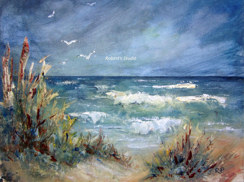 Print Of Original Beach Painting landscape artwork