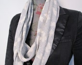 Skinny loop scarf in cream and grey butterfly print