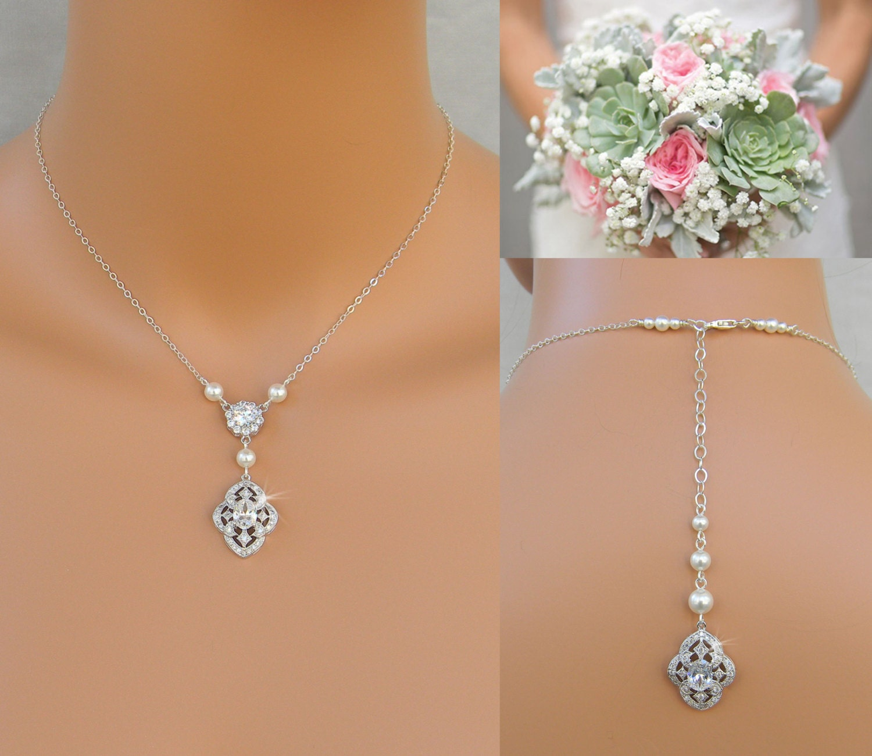 Pearl Bridal Necklace Dainty Backdrop Bridal Necklace Pearl